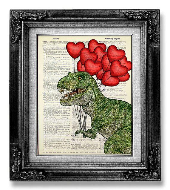 ART décoratif Trex mur accrochant T REX dinosaure par GoGoBookart, $10.00