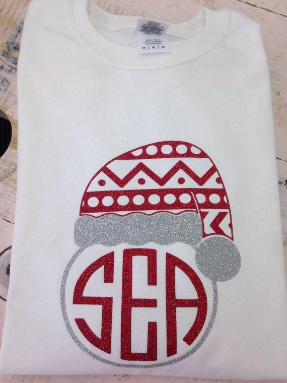Monogrammed longsleeve santa shirt