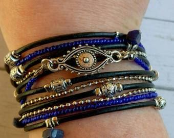 Multistrand Leather Wrap Bracelet  Protection Bracelet  Evil
