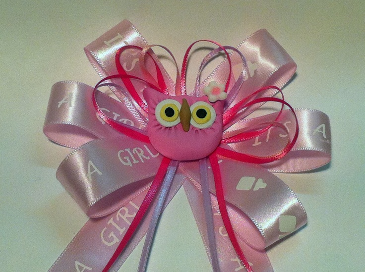 owl baby shower pin corsage girl pink ribbon for forest or owl theme