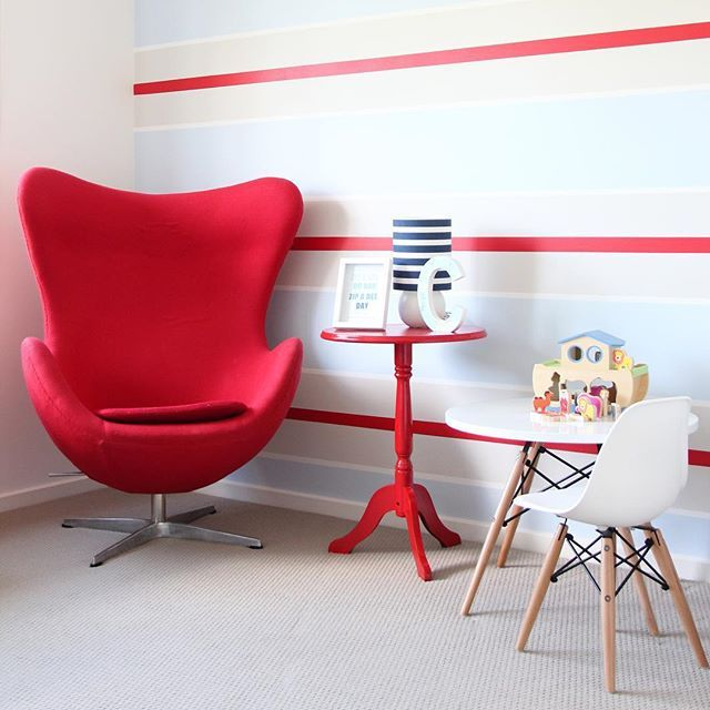 The wall in Charles' room was painted and the inspiration came from a favourite onesie...just goes to show you never know where the ideas will come from! @nestdesignstudio #beautifulbabiesrooms #book #baby #nursery #kidsrooms #childrensrooms #decor #interiordesign