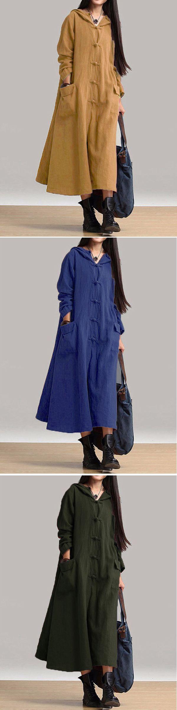 US$ 23.69 Gracila Women Vintage Plate Buckles Long Sleeve Hooded Long Maxi Dresses