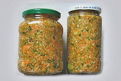 Suppengemüse mit Salz, ohne einkochen