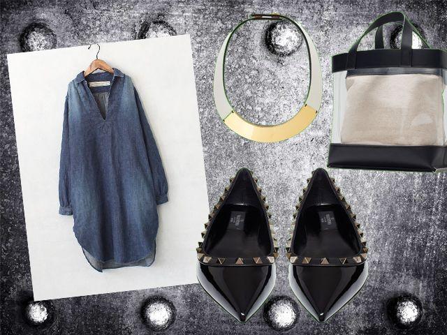 Туника-рубаха, балетки с шипами,прозрачная сумка, колье