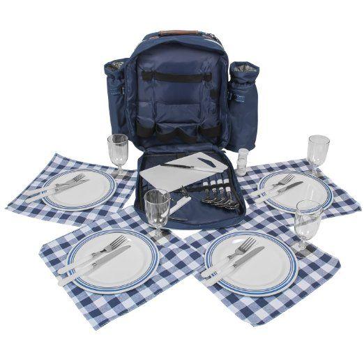 Picknick Rucksack mit Geschirr u Thermofach für 4 Personen, 34,95 Euro auf Amazon.de