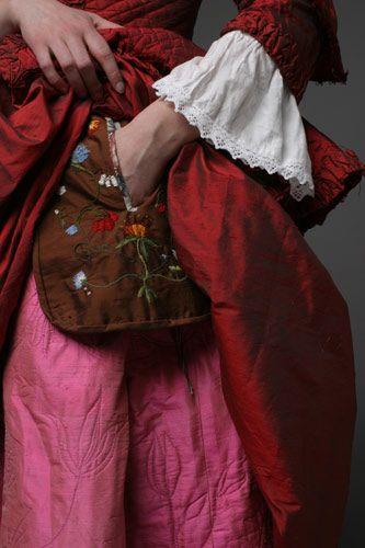Detail showing concealed pocket between over gown and petticoat. [Nordstjernan - 1700-tal]