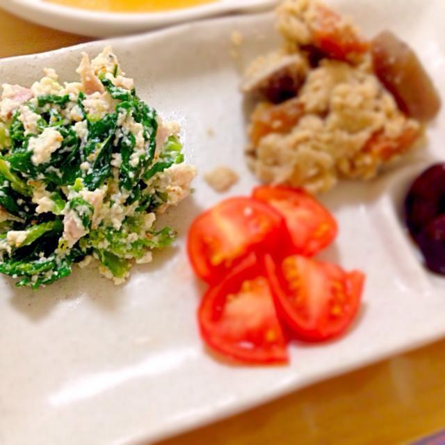 ゆっこさんのお料理を見て、私も食べたくなりました〜。 レシピは違うけど… ゆっこさん、食べ友お願いいたします 春の気分 - 40件のもぐもぐ - 副菜プレート★菜の花の白和え by かわち