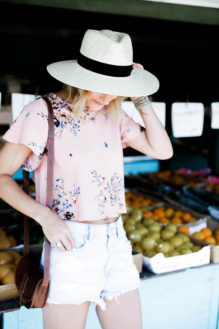 amanda holstein in urban outfitters crop top panama hat and denim shorts napa - Napa Styles