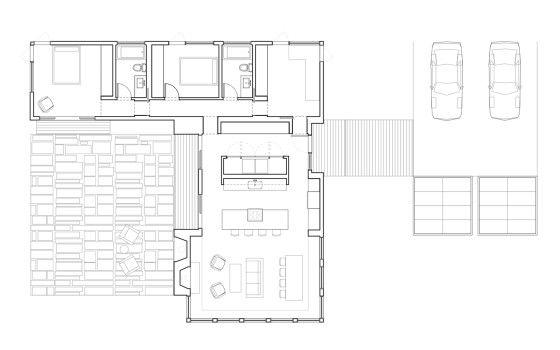 Plano de casa en forma de L