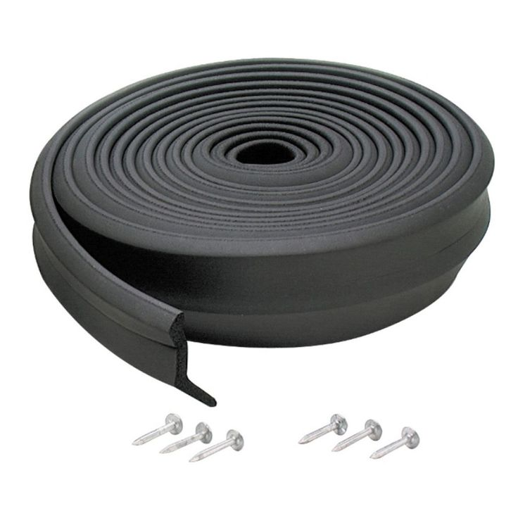 M-D 03749 16' Rubber Garage Door Bottom Seal (Garage Door), Black