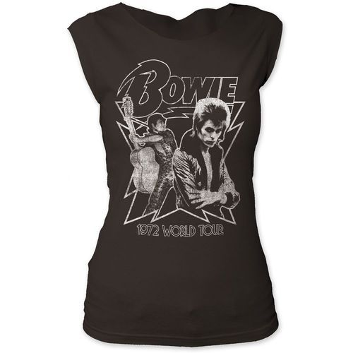 David Bowie Women's Vintage Concert T-shirt - David Bowie 1972 World Tour. Women's Black Sleeveless Shirt