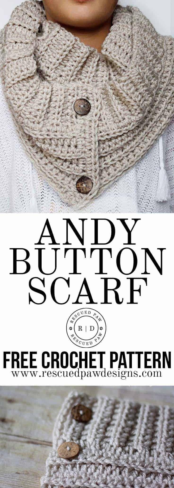 Andy Button Scarf Crochet Padrão