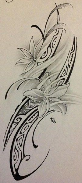 Grey Flowers And Polynesian Tattoos Design