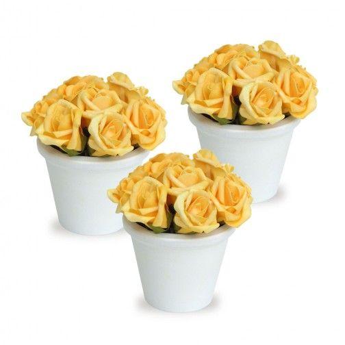 Arranjo Mini Rosas amarelas Romantico Trio