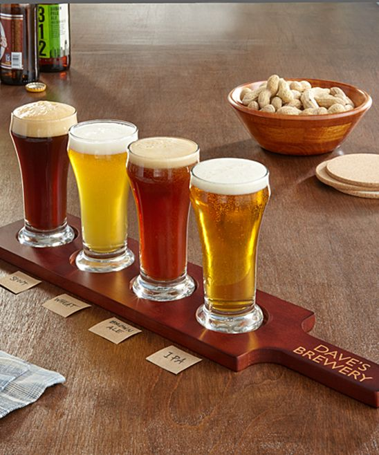 Glass & Wood Personalized Beer Tasting Glasses & Serving Paddle