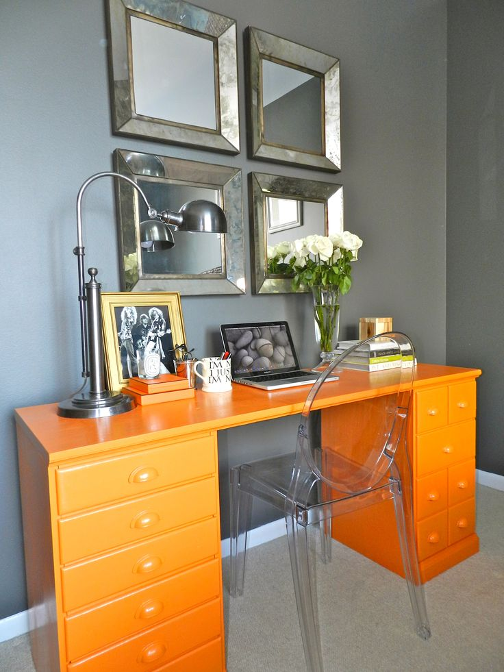 Desk Makeover. I love the idea of adding a pop of color to a neutral