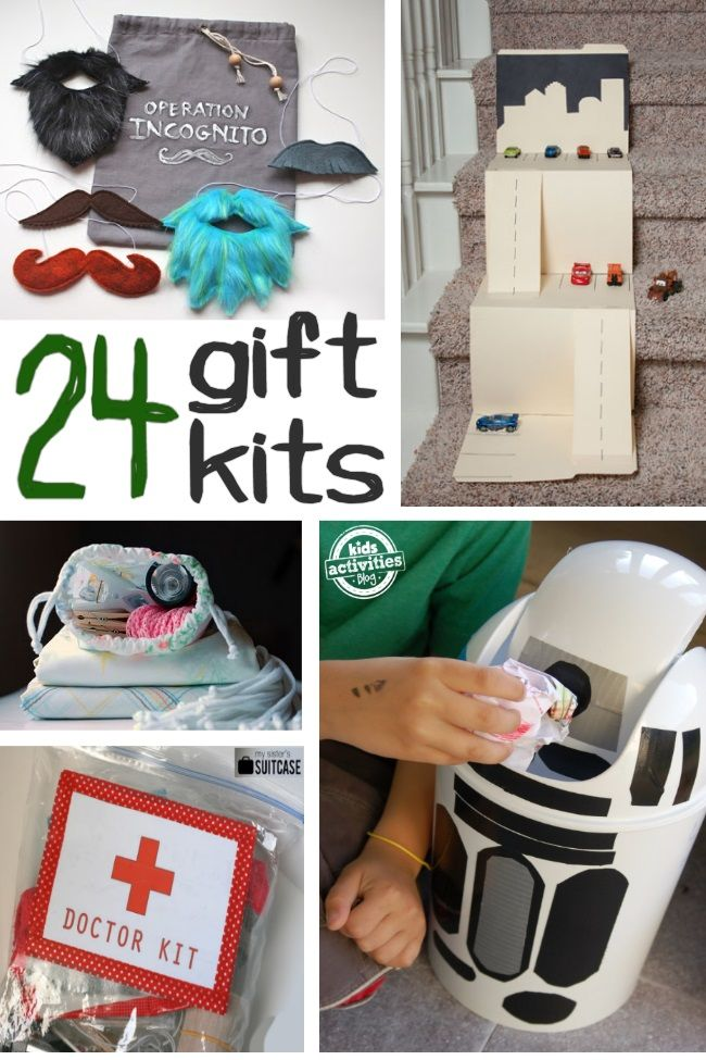 Gift kits are great for creative kiddos. Group the items together and let your kids create. Check out the fort kit, spy kit and lots more!