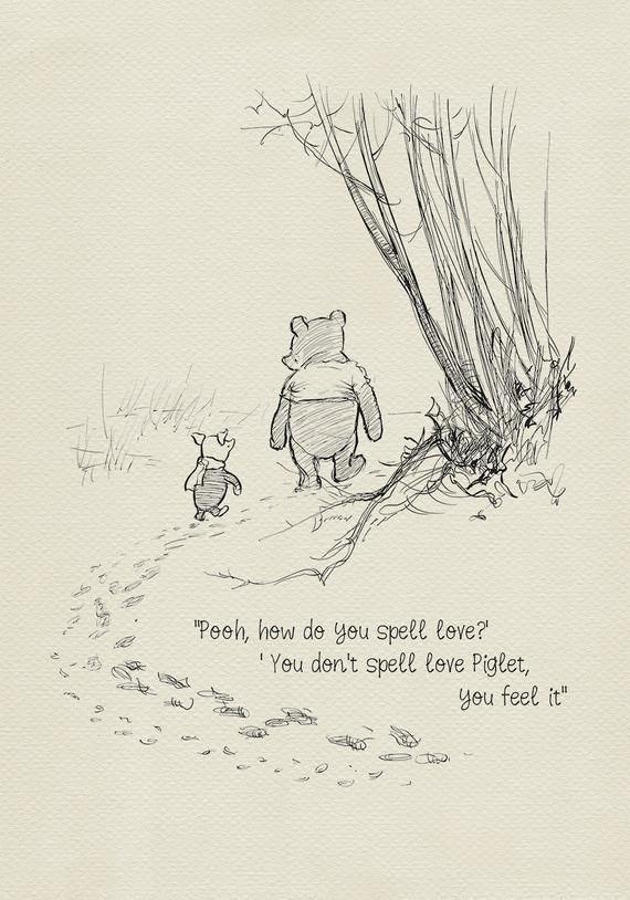 Pooh, how do you spell love? – Winnie the Pooh Quotes – classic vintage style poster print #33 – Sh
