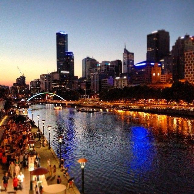 White nights, Yarra river, Southbank, Melbourne CBD