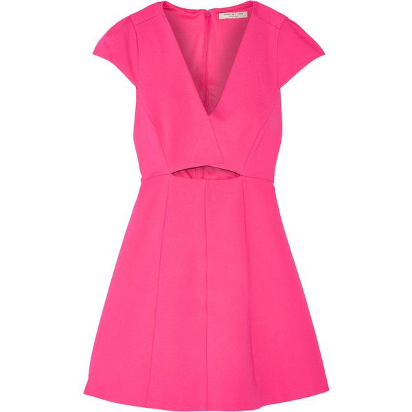 Halston Heritage Cutout stretch-jersey mini dress (11,530 INR) ❤ liked on Polyvore featuring dresses, pink, halston heritage dress, pink mini dress, loose dress, stretch jersey and pink dress