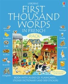 First thousand words in French pack  This fantastic pack includes the Usborne First Thousand Words in French wordbook, a sticker dictionary, 500 stickers, 50 flashcards and a CD pronunciation guide. Usborne First Thousand Words is a bright, lively thematic wordbook with 1000 French words illustrated in colourful scenes. The sticker dictionary contains alphabetical entries for 500 key French words, with a place to stick the sticker and write the definition for each word.