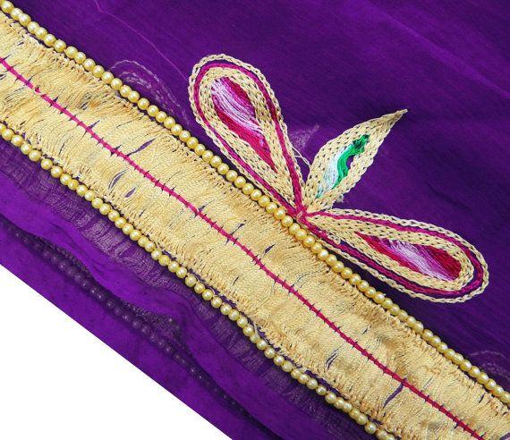 Vintage Chiffon Bridal Dupatta Purple Dress Women by queensclub, $21.99