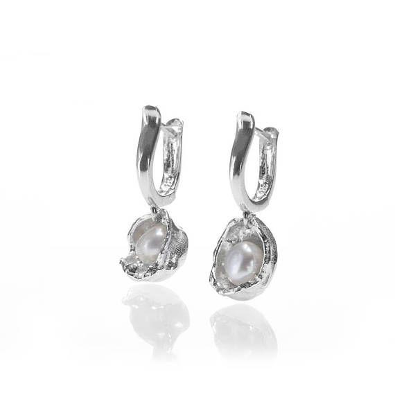 Organic water cast silver earrings