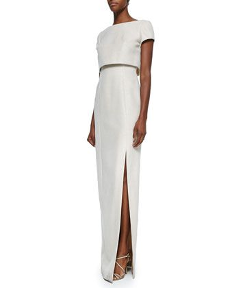 Short-Sleeve Jacquard Gown with Popover by Theia at Neiman Marcus.