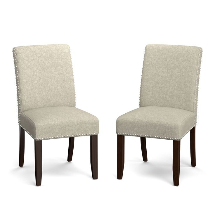 Handy living portfolio madelyn barley tan linen for Dining room head chairs