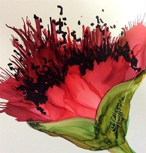 DPW Fine Art Friendly Auctions - Poppy Red, 5 x 5 Alcohol Ink, ... by Donna Pierce-Clark