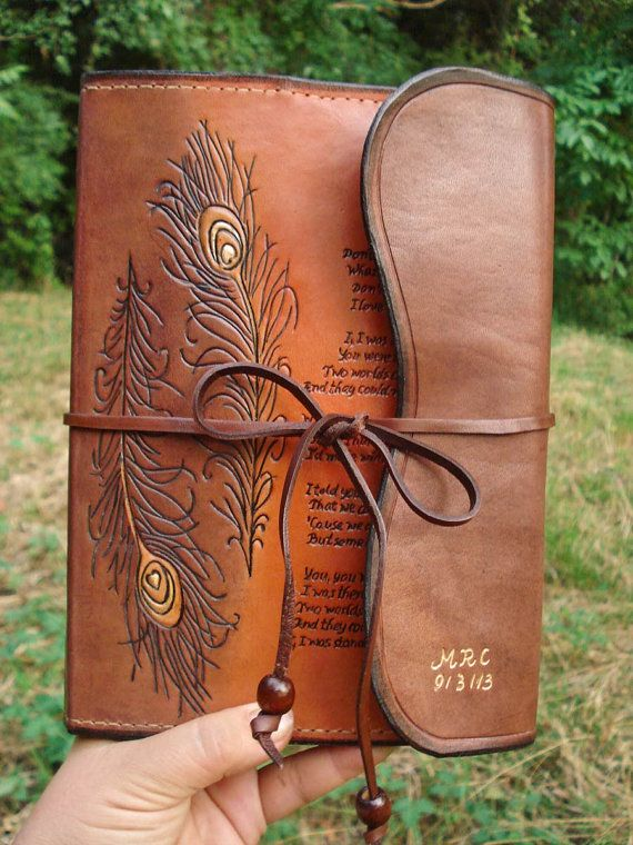 Rustic Leather Journal Hand Tooled Hand Written by MadeOfLeather, $80.00