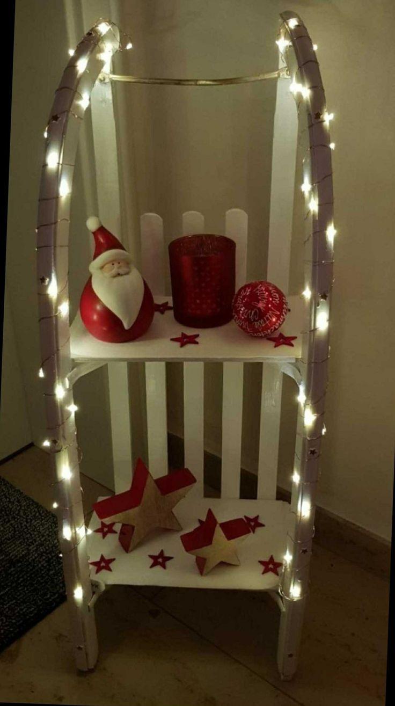 Alter Schlitten zur schicken Weihnachtsdeko umgewandelt  Deko