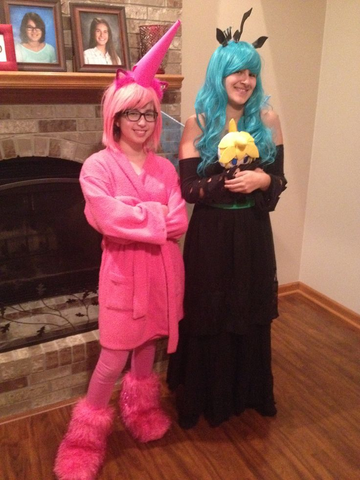 Pic from halloween 2014 im on the right as queen chrysalis and my friend is fluffle puff  *Also len makes a guest appearance*