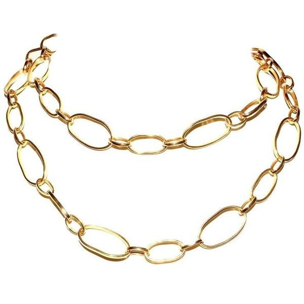 Preowned Long Italian Gold Necklace (€4.890) ❤ liked on Polyvore featuring jewelry, necklaces, multiple, pre owned jewelry, 18 karat gold necklace, gold jewelry, 18k gold jewelry and 18 karat gold jewelry