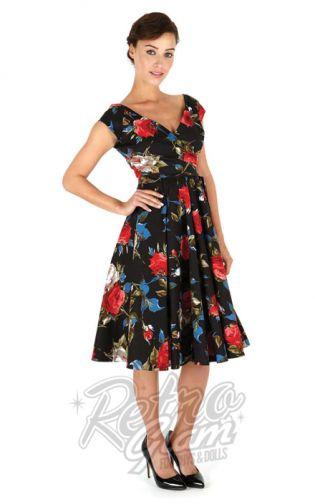 Retro Glam Pretty Dress Company Hourgl Swing In Black Carmen