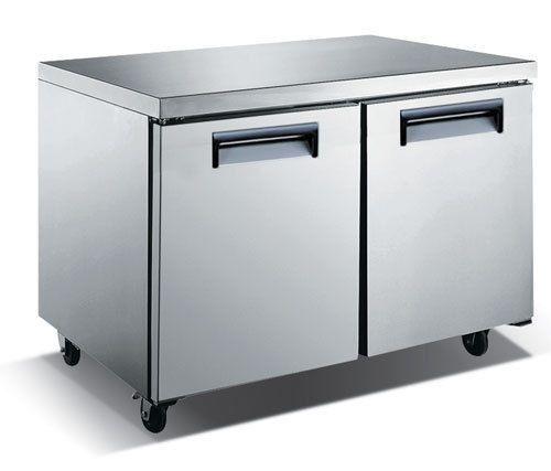 Stainless Steel Solid Door Undercounter Freezer – 48″, 2 Door