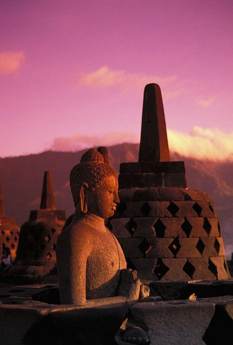 Pink sunrise in Borobudur Temple, Central Java, Indonesia. #PINdonesia
