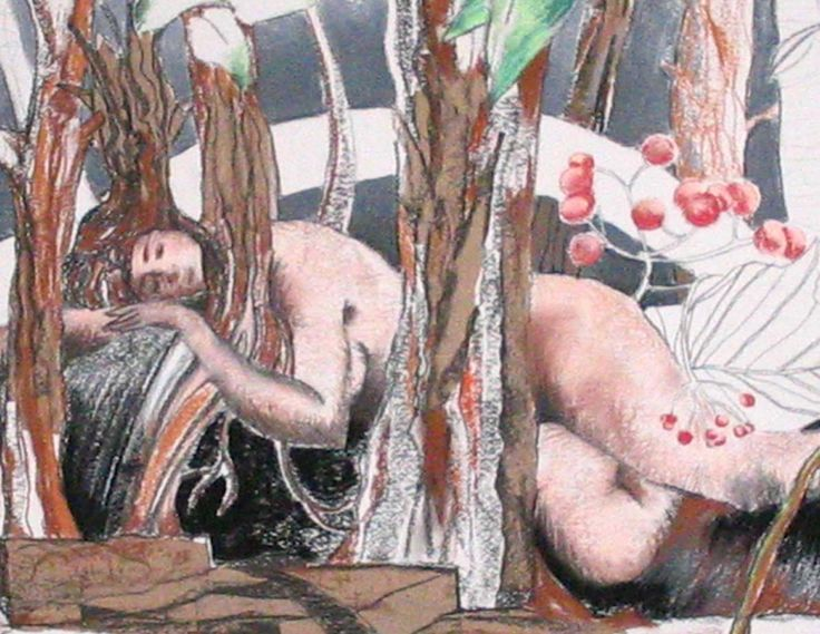 Rowan in the woods -  diptych part one. Mixed media on paper