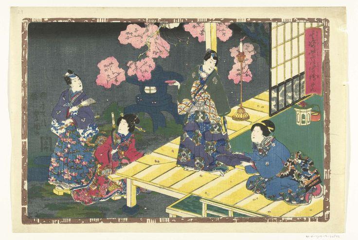 Kunisada (I) , Utagawa   Hoofdstuk 29, Kunisada (I) , Utagawa, Fukushima Giemon, Muramatsu Genroku, 1849 - 1853   Man en vrouw, in tuin met bloesemende boom, bij veranda waarop tweede man en vrouw; op de achtergrond een stenen lantaarn; bij nacht. Voorstelling omsloten door bruine rand waarin Genji emblemen.
