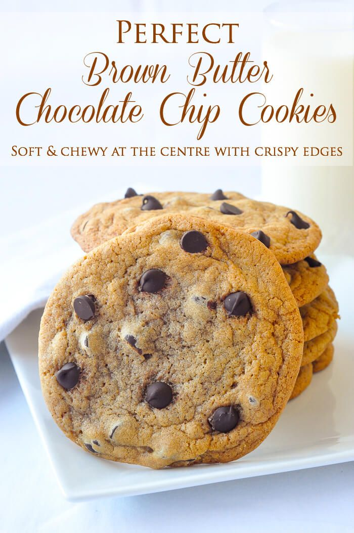 The Best Brown Butter Chocolate Chip Cookies - soft and chewy at eh centre and crispy around the outer edges with a caramel like boost of flavour from using brown butter in the cookie dough.