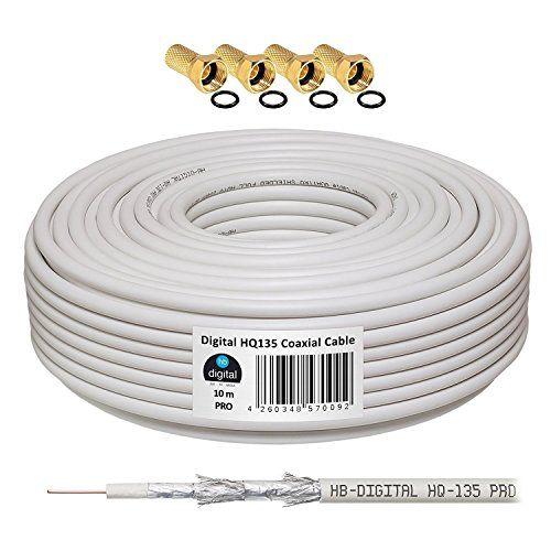130db 10m koaxial sat kabel hq-135 pro 4-fach geschirmt