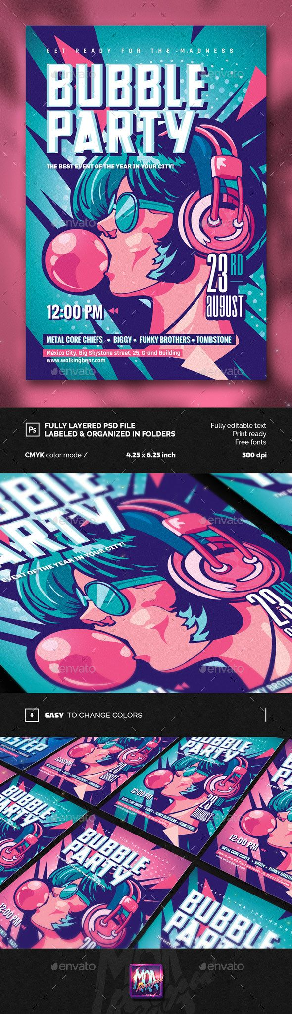 Bubble Party Flyer Template PSD. Download here: http://graphicriver.net/item/bubble-party-flyer/15273800?ref=ksioks
