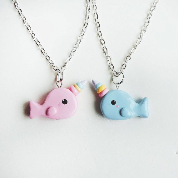 Blue and pink rainbow narwhal pals.