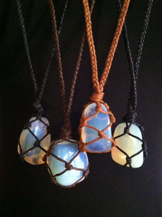 Cord Wrapped Healing Crystal Necklace Opalite by LonelyMoonChild, $30.00