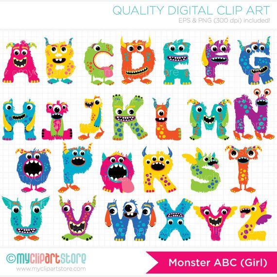 Monster ABC Girl Alphabet Clip Art / Digital by MyClipArtStore, $4.50