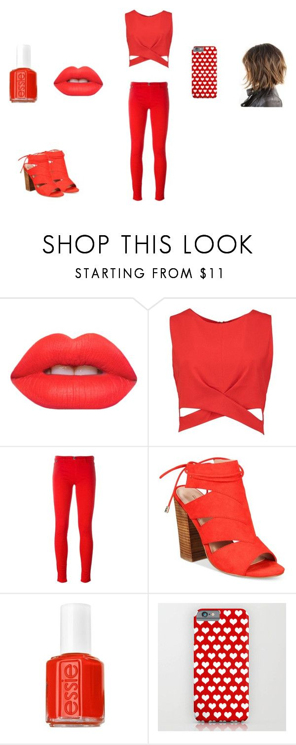"""Red lush"" by lola2bravo on Polyvore featuring beauty, Lime Crime, Boohoo, Love Moschino, Call it SPRING and Essie"