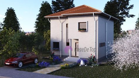 Locuinta unifamiliala moderna organizata parter si etaj- Vedere acces principal si parcarea| Modern single-family dwelling- The main entrance and the parking lot| Etichete: proiect casa, proiecte case, proiecte case mici, proiecte case mici cu etaj, case mici, proiecte case moderne, case moderne