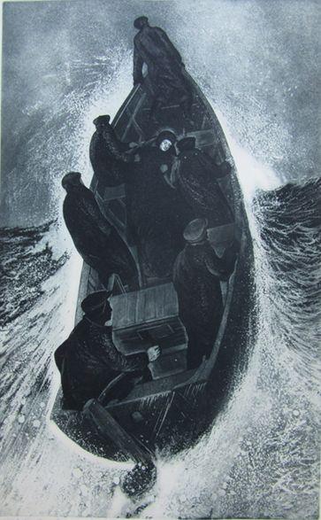 David Blackwood, Sick Captain Leaving, etching & aquatint, 1972, No. 1 of 25, 32 X 20 inches.