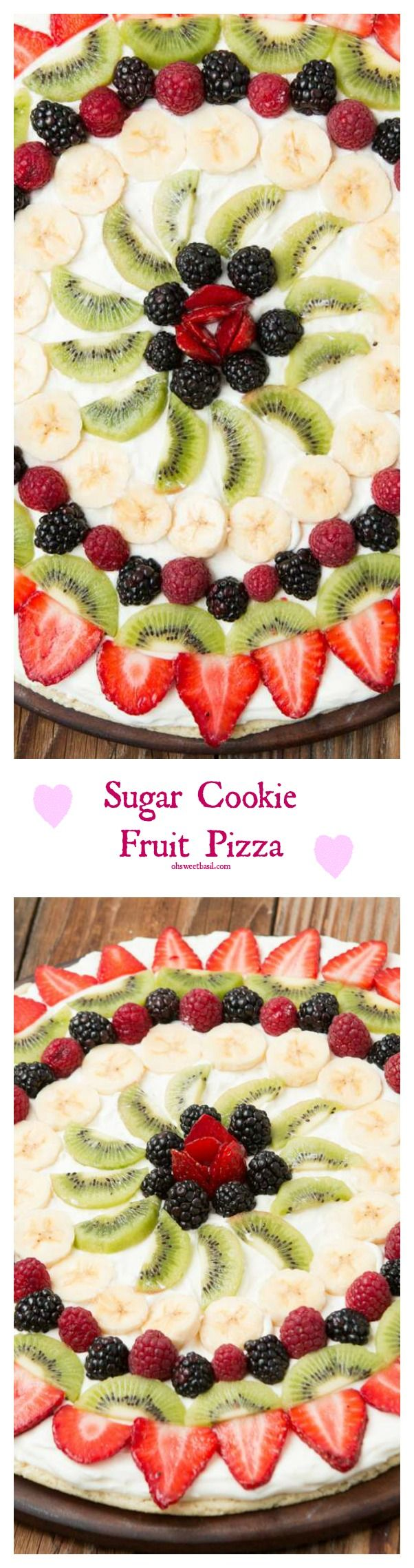 Everyone's Favorite Sugar Cookie Crust Fruit Pizza ohsweetbasil.com