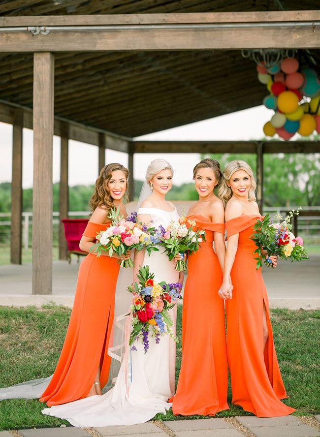 Bright Magenta Orange Wedding Inspiration Orange Bridesmaid